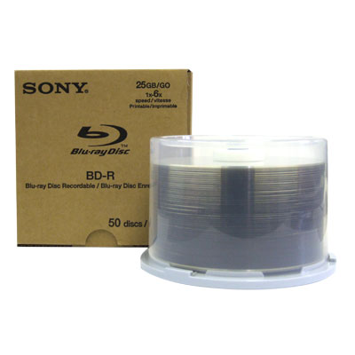SONY Disc, Blu-ray, Single Layer, 25GB, 6X Write Once, Wht IJ Printable, 50/pk