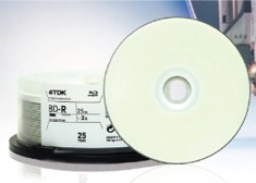 TDK Disc, Blu-ray, Single Layer, 25GB, WHT IJ Pro Hub Printable 1-2x