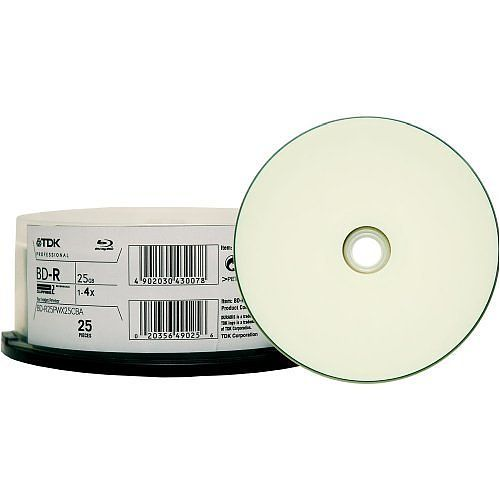 TDK Disc, Blu-ray, Single Layer, 25GB, Write Once, 4X, Thermal Wht Hub Printable