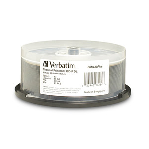VERBATIM Disc, Blu-ray, 6X, DL, 50GB, DataLife +, White Hub Thermal Printable, 25pk Spindle