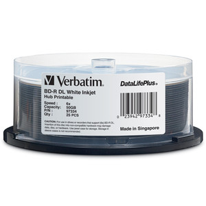 VERBATIM Disc, Blu-ray, 6X, DL, 50GB, DataLife +, White Hub IJ Printable, 25pk Spindle