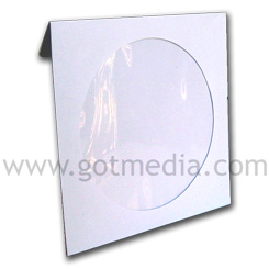 CD DVD White Paper Sleeve with Window and Flap