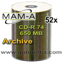 MAM-A (Mitsui) Gold CD-R 74, 52X, White Inkjet Printable Surface 41186 - 100 Pack