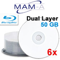 MAM-A Dual Layer BD-R Blu-ray, White Inkjet Printable, 6x
