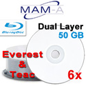 MAM-A Dual Layer Blu-ray BD-R, White Thermal Hub Printable, Everest and P-55