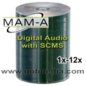 MAM-A (Mitsui) CD-R 80, 52X, Shiny Silver Thermal Surface 11121 - 100 Pack