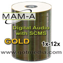 MAM-A (Mitsui) Gold Digital Audio CD-R 80, 11355, White Inkjet - 100 Pack