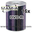 MAM-A Mitsui DVD-R 16x, Silver Inkjet Printable 163120 - 100 pack