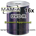 MAM-A Mitsui DVD-R 16x, Silver Thermal Printable 163158 - 100 pack