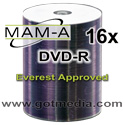 MAM-A 16x DVD-R White Thermal Hub Prinatable for Everest Printers.