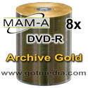 MAM-A Mitsui DVD-R 8x, Gold Archive Thermal Printable 83437 - 100 pack
