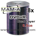 MAM-A (Mitsui) DVD+R DUAL LAYER, 8x, 8.5GB, Shiny Silver Thermal Surface, 83715 - 50 Pack
