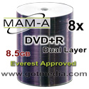 MAM-A (Mitsui) DVD+R DUAL LAYER, 8x, 8.5GB, White Thermal Edge-to-Edge Printable, 83717 (Everest Approved) - 100 Pack