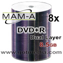 MAM-A (Mitsui) DVD+R DUAL LAYER, 8x, 8.5GB, White Inkjet Edge-to-Edge Printable, 83717 - 100 Pack