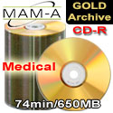 MAM-A Medical Gold Archive CD-R 74min/650MB - No Logo - 45006 - 200 Pack