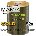 MAM-A (Mitsui) CD-R, Gold Matte Finish Thermal Surface 41501 - 100 Pack