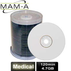 MAM-A Medical, DVD-R 120min 4.7GB, White Inkjet Printable - 163776