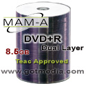 MAM-A (Mitsui) DVD+R DUAL LAYER, 8x, 8.5GB, White Thermal Edge-to-Edge Printable, 83854 (Everest Approved) - 100 Pack