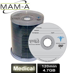 MAM-A Medical DVD-R 120min 4.7gb, with MAM-A Logo - 163151