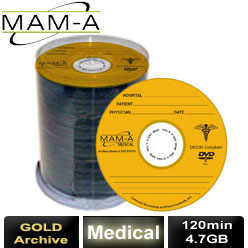 MAM-A Medical Gold Archive, DVD-R 120min 4.7gb, with MAM-A Logo - 83445
