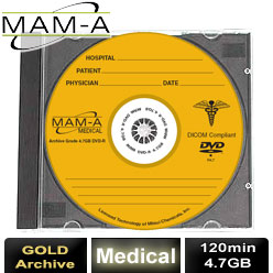 MAM-A Medical Gold Archive, DVD-R 120min 4.7GB, with MAM-A Logo - Jewel Case - 83484