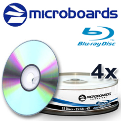 Microboards Blu-ray Recordable, 4x, 25GB, Shiny Silver, 25 Pack - 12548