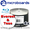 Microboards Blu-ray Recordable, 4x, 25GB, White Thermal Hub Printable (Everest and Teac Approved), 50 Pack - 15418