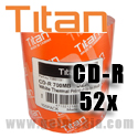 Titan CD-R 52X, 700MB, White Thermal Hub Printable, Metalized Hub (T5881191) - 100 Pack