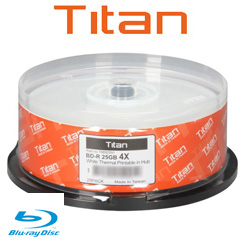 Titan Blu-ray Recordable, 4x, 25GB, White Thermal Metalized Hub Printable, 25 Pack - T9892591