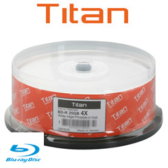 Titan Blu-ray Recordable, 4x, 25GB, White Inkjet Metalized Hub , 25 Pack - T9892589