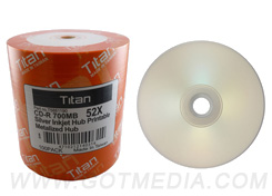 Titan CD-R 52X, Silver Inkjet Hub Printable, Metalized Hub - T5881190