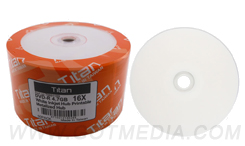 Titan DVD-R 16X, 4.7GB,White Inkjet Hub Printable, Metalized Hub (T6891189)