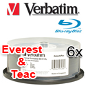 Verbatim Blu-ray Recordable, 6x, 50GB, White Hub Thermal Printable, 25 Pack - 97284