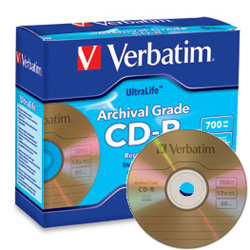 Verbatim Gold Archival CD-R 52x, 700MB Branded Surface - 96319