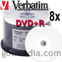 VERBATIM DVD+R 8X, 4.7GB White Inkjet Hub Printable Surface 94812