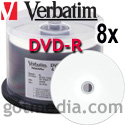 VERBATIM DVD-R 8X, 4.7GB White Inkjet Hub Printable Surface 94854