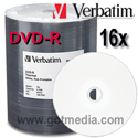 VERBATIM DVD-R 16X, 4.7GB White Inkjet Hub Printable Surface 95079