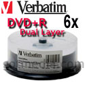 VERBATIM DVD+R Dual Layer 6X, 8.5GB White Inkjet Printable 95123