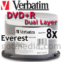 VERBATIM DVD+R DUAL LAYER, 8.5GB, White Thermal Printable Surface (95335) - 50 Pack
