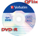 VERBATIM DVD-R 8x Qflix Media, 4.7GB Branded Silver Surface  (96747) - 30 Pack