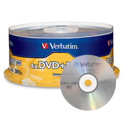 Verbatim DVD+RW 4X, 4.7GB Silver Spindle - 94834