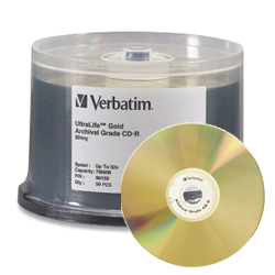 Verbatim UltraLife CD-R 52x, 700MB, Branded Hub - 96159 - 100 pack