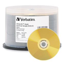 Verbatim UltraLife DVD-R 8X, 4.7GB Gold Archive Spindle - 95355